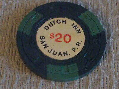 DUTCH INN CASINO $20 hotel casino gaming poker chip ~ San Juan, Puerto Rico