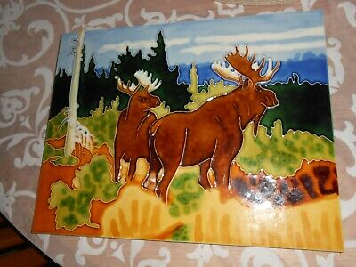 14 x 11 LARGE CERAMIC WALL TILE PICTURE- MOOSE