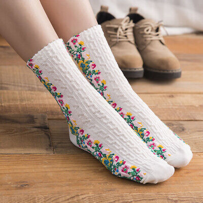 3 Pairs Girls Cotton Blend Embroided Ankle Socks Floral Hosiery Random Color