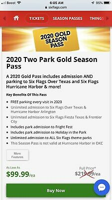 (2) 2020 Gold Season Passes to Six Flags Over Texas