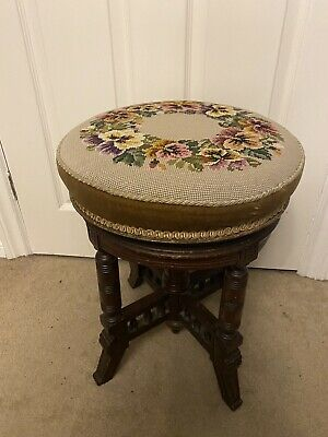 Stunning rise and fall piano stool  Four Legged In Very Good cond. with Tapestry