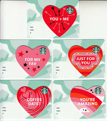 5+3 STARBUCKS gift cards Valentines Day Hearts GERMANY / Collectible / LOT of 8