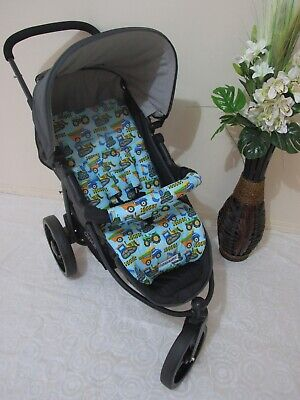Pram liner set,universal,100% cotton fabric-Construction trucks-Funky babyz