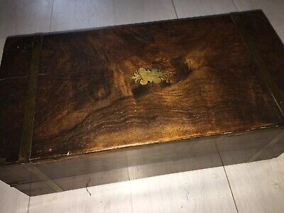 "Victorian Large 20"" Walnut Burr Brass Bound Writing Slope With Fitted Interior"
