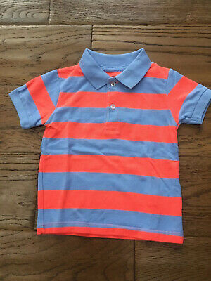 Lovely Next Boys Blue Orange Bright Stripe Polo Shirt Age 12-18 Months
