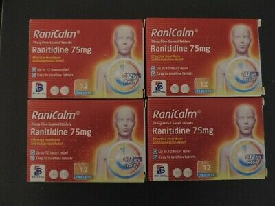 4x Boxes RaniCalm Ranitidine 75mg x 12 Tablets - Not Recalled