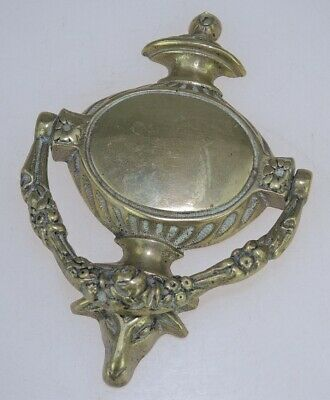 Antique Brass Door Knocker Rams Head with Floral Decoration