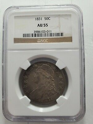 1831 50c CAPPED BUST NGC AU 55 HALF DOLLAR, GREAT EXAMPLE - FREE SHIPPING!!