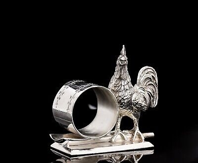Victorian Silver Plate Figural Napkin Ring Large Rooster Meriden #181