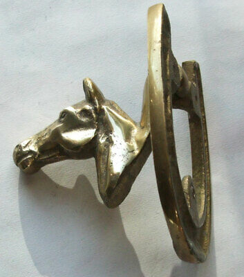 Solid Brass Vintage Horse Head  Door Knocker. Cleaned and Repolished.
