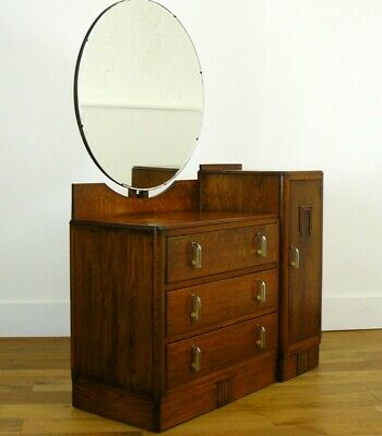 Gorgeous 1930S Art Deco Oak Dressing Table Chest of Drawers