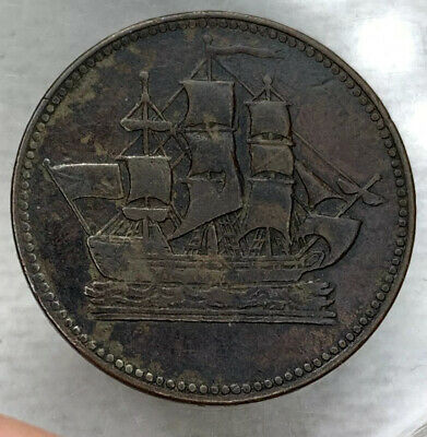 B77 Canada Prince Edward Island 1830's 1/2 Penny XF Ships, Colonies, & Commerce