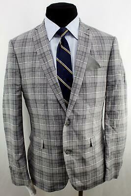 New 40R Bar III Slim  Fit Gray Plaid Double Vent Flat Front 100% Linen Suit FE0