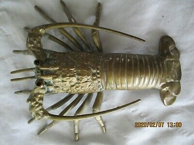Vintage Brass Lobster Wall Hanging, Nicely Defined, Solid, Boat, Beachside