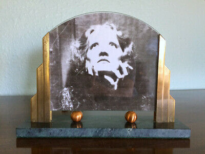 Vintage Antique Art Deco Brass Copper Metal Marble Picture Frame 1930s Style