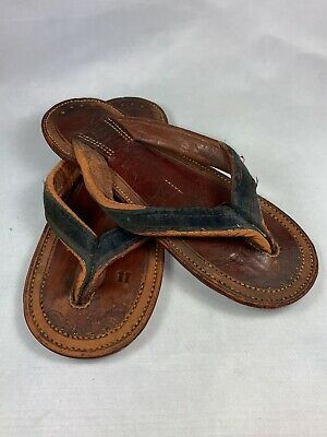 Vintage Authentic Japanese Chinese  Sandals Thong Hand made Brown Leather