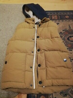 Next Aged 11 Years Boys Beige Fleece Lined Hooded Padded Gilet