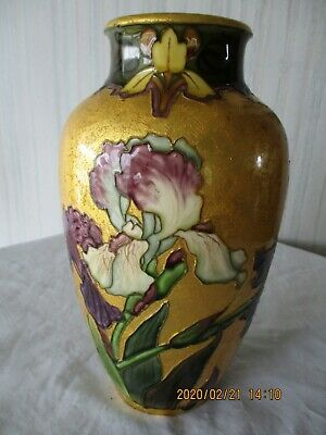 Antique Sevres Vase By Paul Milet, Iris Pattern In Purple And White, Green Leaf