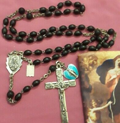 STERLING SILVER COCOA Bead Rosary ROSE Crucifix+ENAMEL Miraculous Medal+Case LOT