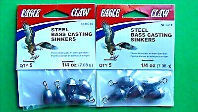 35 Eagle claw steel egg sinkers eco-friendly 1//4 oz 5 pacs of 7