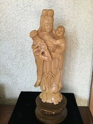Chinese Box-wood Hand-carved Guanyin Kwan-yin Quan Yin Statue With Child 11""