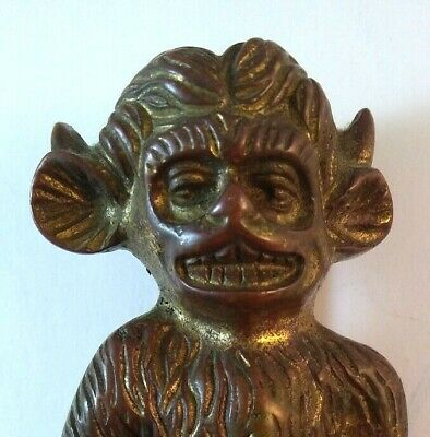 Nice Unusual Vtg  Lincoln Grotesque Imp Hinged Brass Door Knocker Stamped 1890