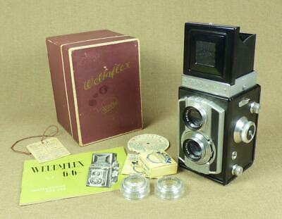 WELTAFLEX 6x6 TLR CAMERA/ Meritar Lenses, Instructions, Box & Filters - Germany
