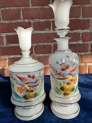 1800s Bristol 19th Century Victorian Hand Painted Satin Blown Glass Mantel  Set