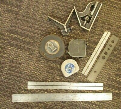 Lot Of Vintage Machinist Tools Combination Square, Lufkin Rule Etc
