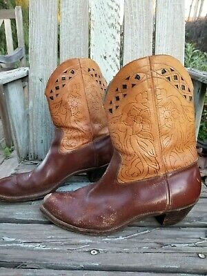 1940s hand tooled two tone shorty pee wee cowboy boots, cutouts, cloth pulls