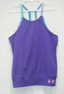 Girls youth UNDER ARMOUR Heat Gear Tank Top purple size 6