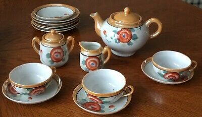 Vintage 15 Pc Childs Floral Peach Luster Tea Set Creamer Sugar Teapot Japan