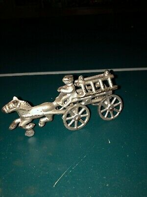Antique cast-iron small fire ladder truck horse drawn toy