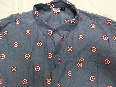Marvel Captain America Shirt 2XL Slim Fit Button Up All Over Print Short Sleeve