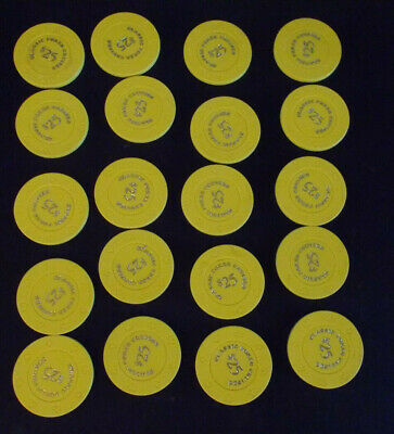 CLASSIC POKER CRUISES 25¢ (25 cents) hotel casino gaming poker chips ~ LOT OF 20