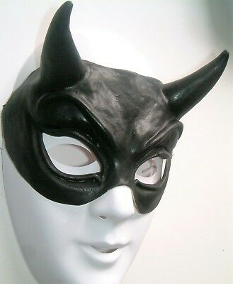 Adult Halloween Demon Devil Horror Black Latex Unisex Mask With Horns New