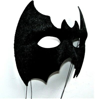 Venetian Masquerade Halloween Fancy Dress  Black Quality Velvet Bat Half Mask