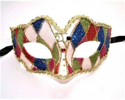 Masquerade Carnival Hen & Stag Party Multi-Colored Harlequin Eye Mask C New