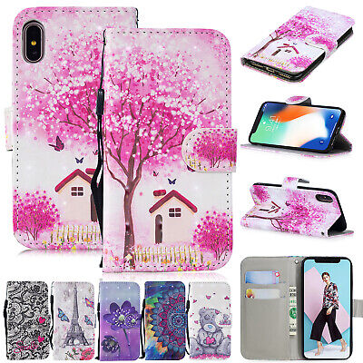 For iPhone 11 Pro Max XS XR 8 Plus 7 6s Case Leather Magnetic Flip Wallet Cover
