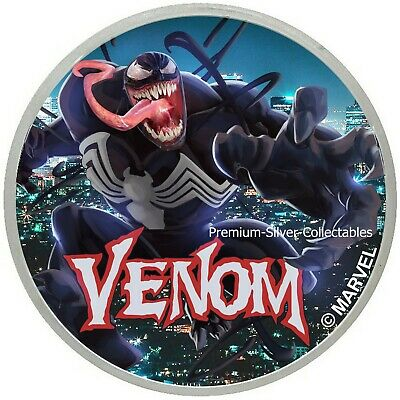 2020 Tuvalu Marvel Series Venom .9999 - 1 Ounce Pure Silver Colorized!