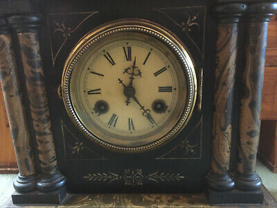 Attractive Antique Victorian Pillar Mantle Clock in Wood with Faux Marble Design