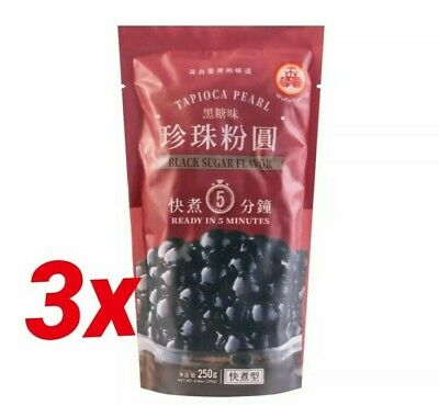 Tapioca Pearl Black Sugar Flavour Boba Bubble Milk Tea Wufuyuan 250g 3 PACKS