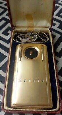 VINTAGE Zenith Super-Royal Pocket Hearing Aid Gold wBox 1950's Space Age Design
