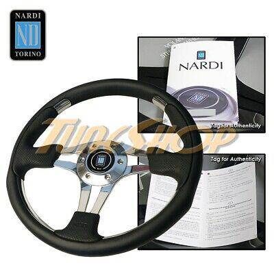 350mm ND Leather Steering Wheel Mid Deep Dish OMP Racing Drifting White Stitch
