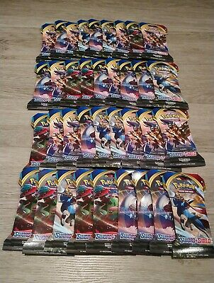 Pokemon 36 Sword and Shield Booster Pack Lot Factory Sealed Packs TCG & Box