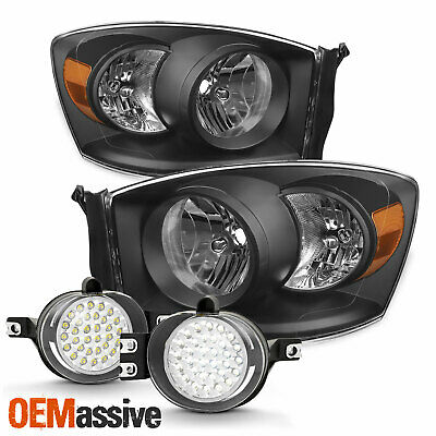 For 2007-2008 Dodge Ram 1500 07-09 Ram 2500/ 3500 Black Headlights+ LED Fog Lamp