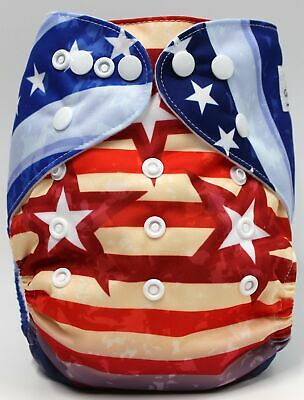 Flag July 4 Patriotic Red White Blue Cloth Diaper One Size Cover SHIPS FROM USA