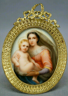 19th Century French Hand Painted Madonna & Child Porcelain & Gilt Ormolu Plaque