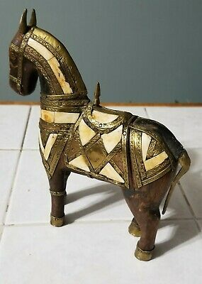 Vintage Carved Wooden War Horse with Copper, Brass Inlay