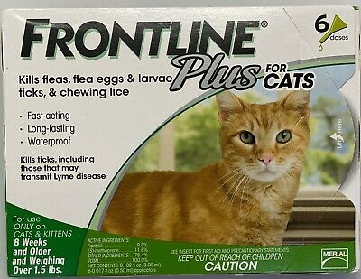 Frontline Plus Flea and Tick Control for Cats and Kittens, 6 Doses